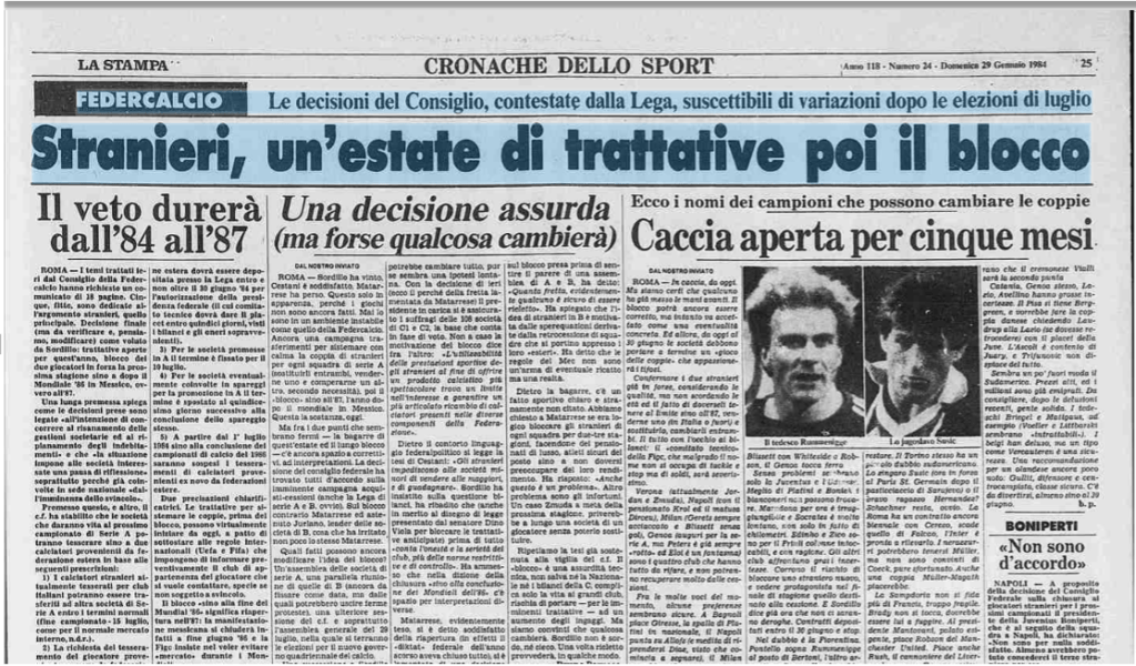 "La Stampa's headline, 29 June 1984: ""Foreigners, a summer of negotiations, and then the blockade"""